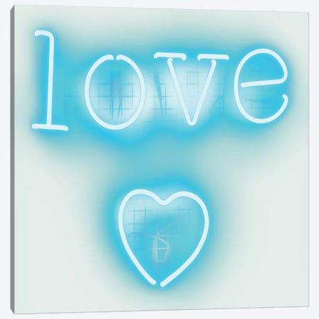 Neon Love Heart Aqua On White Canvas Print #HCR80} by Hailey Carr Canvas Wall Art