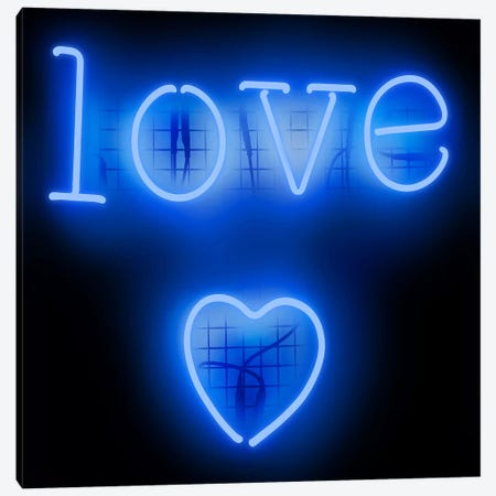 Neon Love Heart Blue On Black Canvas Print #HCR81} by Hailey Carr Canvas Wall Art