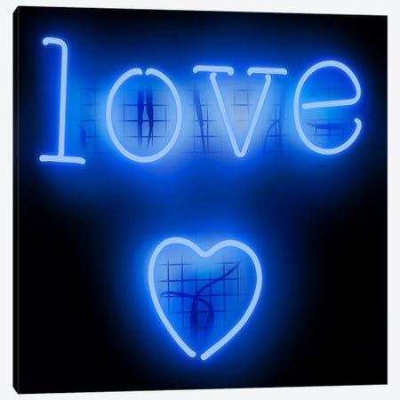 Neon Love Heart Blue On Black Canvas Print #HCR81} by Hailey Carr Canvas Wall Art