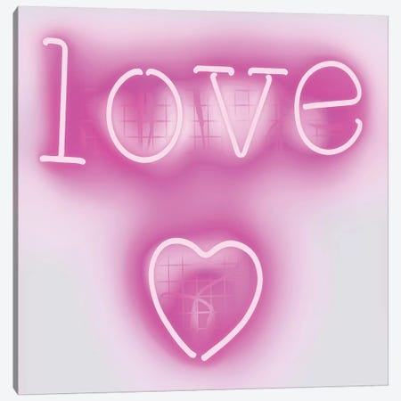 Neon Love Heart Pink On White Canvas Print #HCR83} by Hailey Carr Canvas Art