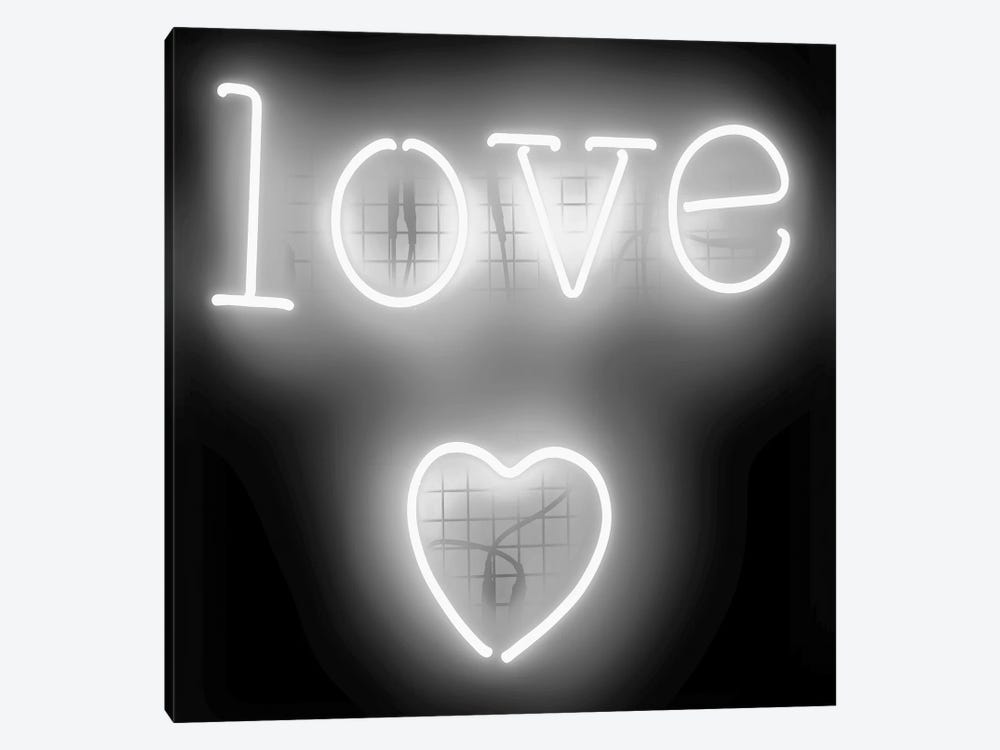 Neon Love Heart White On Black by Hailey Carr 1-piece Art Print