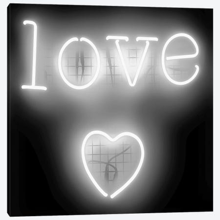 Neon Love Heart White On Black Canvas Print #HCR85} by Hailey Carr Art Print