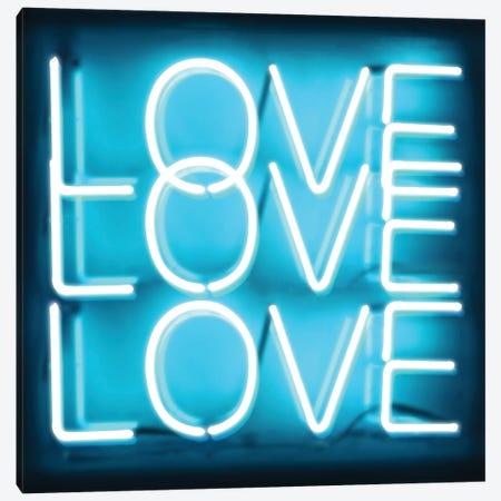 Neon Love Love Love Aqua On Black Canvas Print #HCR86} by Hailey Carr Canvas Print