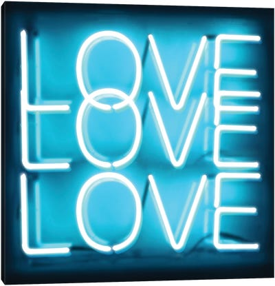 Neon Love Love Love Aqua On Black Canvas Art Print