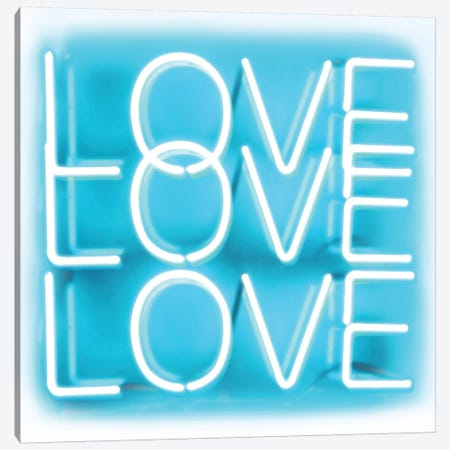 Neon Love Love Love Aqua On White Canvas Print #HCR87} by Hailey Carr Canvas Art Print