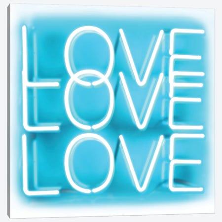 Neon Love Love Love Aqua On White Canvas Print #HCR87} by Hailey Carr Canvas Art Print