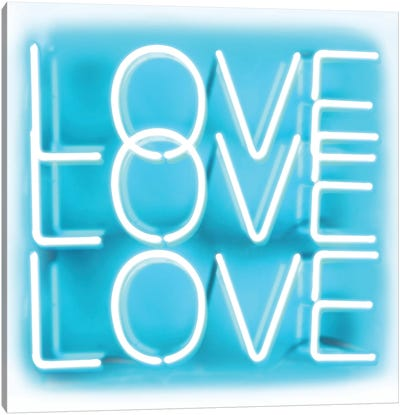 Neon Love Love Love Aqua On White Canvas Art Print