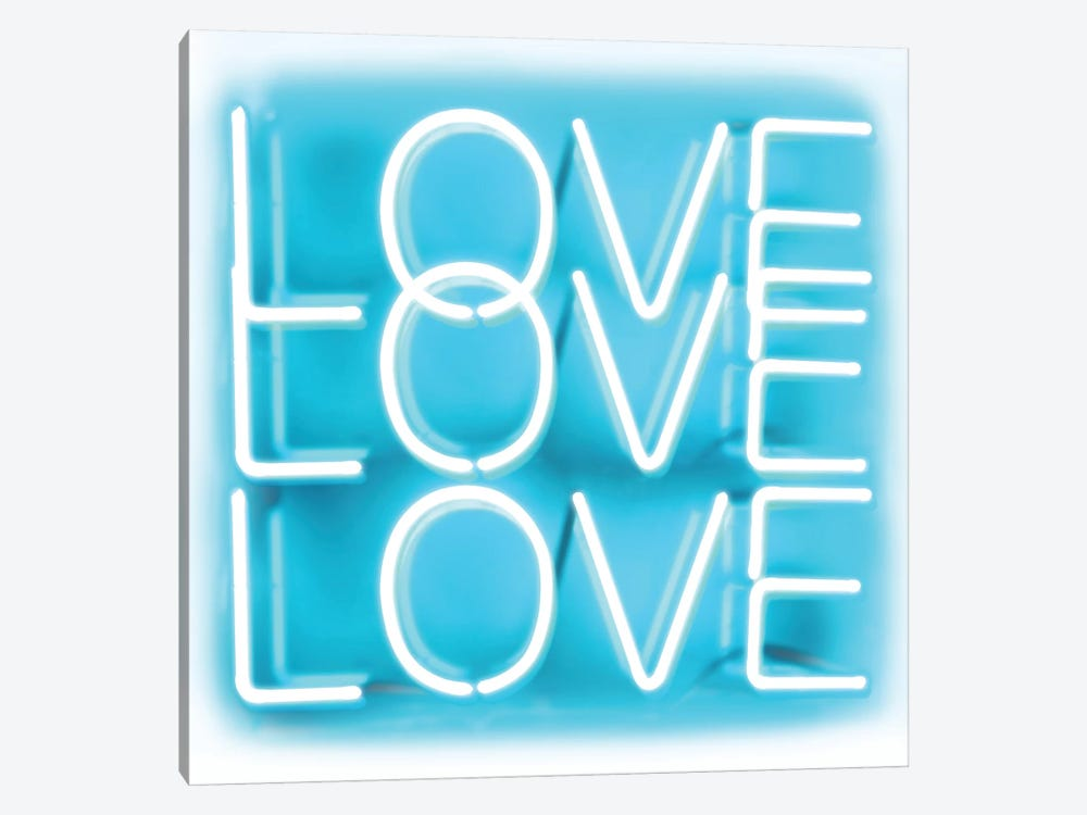 Neon Love Love Love Aqua On White by Hailey Carr 1-piece Canvas Art Print