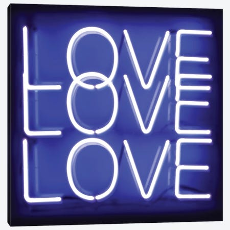 Neon Love Love Love Blue On Black Canvas Print #HCR88} by Hailey Carr Canvas Wall Art