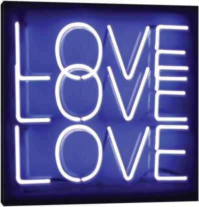 Neon Love Love Love Blue On Black Canvas Art Print