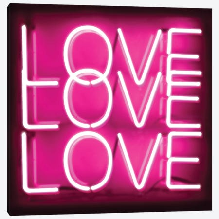 Neon Love Love Love Pink On Black Canvas Print #HCR89} by Hailey Carr Canvas Artwork