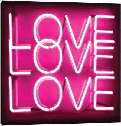 Neon Love Love Love Pink On Black Canvas Art Print