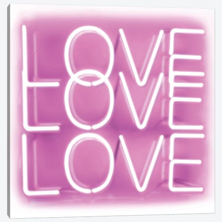 Neon Love Love Love Pink On White Canvas Print #HCR90} by Hailey Carr Canvas Print