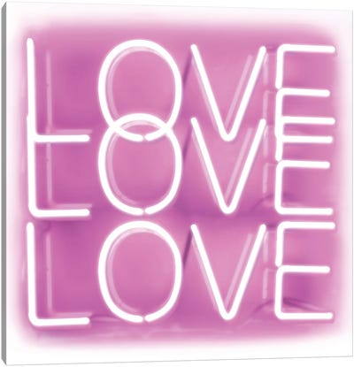 Neon Love Love Love Pink On White Canvas Art Print
