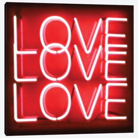 Neon Love Love Love Red On Black Canvas Print #HCR91} by Hailey Carr Canvas Art Print