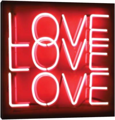 Neon Love Love Love Red On Black Canvas Art Print