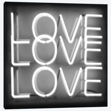 Neon Love Love Love White On Black Canvas Print #HCR92} by Hailey Carr Canvas Art Print