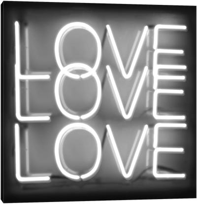 Neon Love Love Love White On Black Canvas Art Print