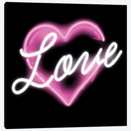 Neon Love Pink On Black Canvas Print #HCR95} by Hailey Carr Canvas Wall Art
