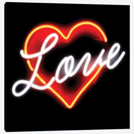 Neon Love Red On Black Canvas Print #HCR97} by Hailey Carr Canvas Artwork