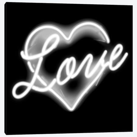 Neon Love White On Black Canvas Print #HCR98} by Hailey Carr Canvas Print