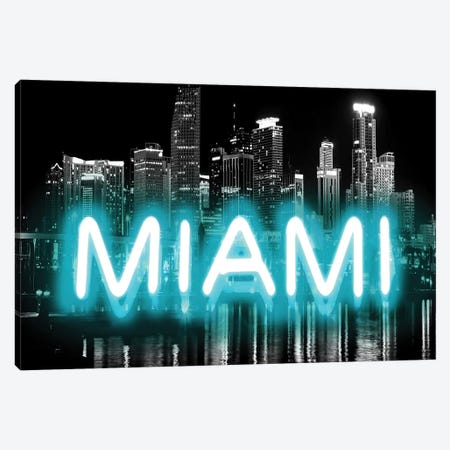 Neon Miami Aqua On Black Canvas Print #HCR99} by Hailey Carr Canvas Art Print