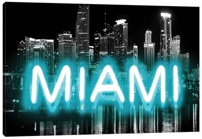 Neon Miami Aqua On Black Canvas Art Print