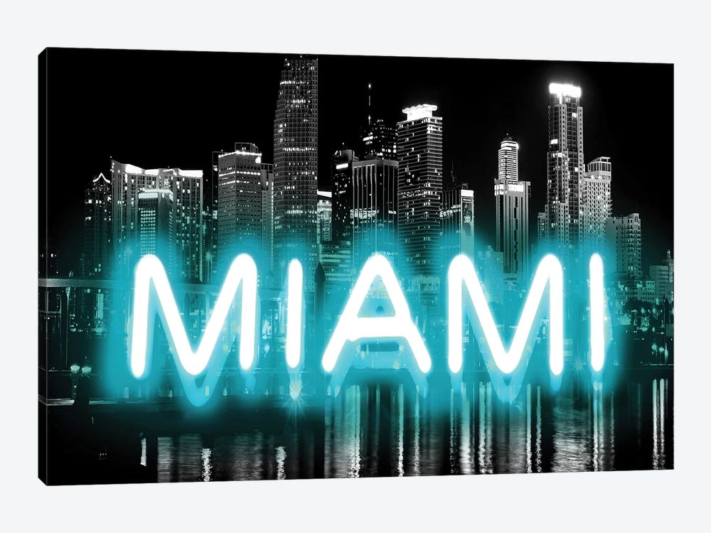 Neon Miami Aqua On Black by Hailey Carr 1-piece Canvas Artwork