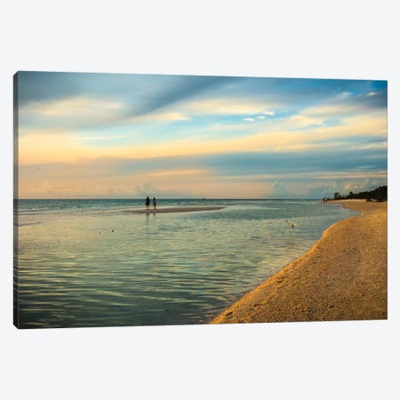People standing on a sandbar in the water watching sunset Canvas Print #HDD10} by Sheila Haddad Canvas Artwork