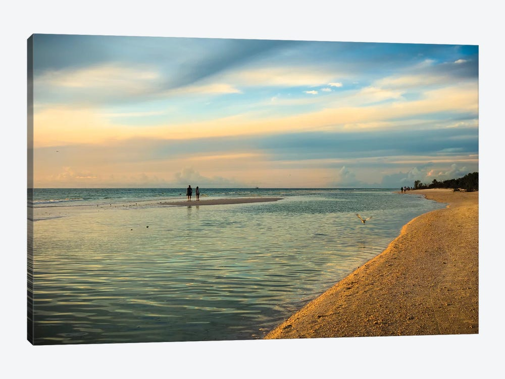 People standing on a sandbar in the water watching sunset by Sheila Haddad 1-piece Canvas Wall Art