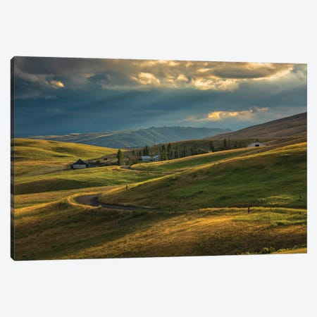Ranch nestled in the rolling hills near Painted Hills, Oregon at sunset Canvas Print #HDD11} by Sheila Haddad Canvas Wall Art