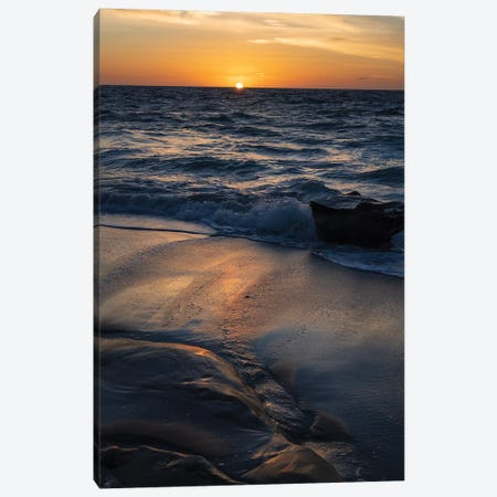 Sun setting on the Pacific Ocean with reflection of golden in the sand Canvas Print #HDD15} by Sheila Haddad Canvas Print