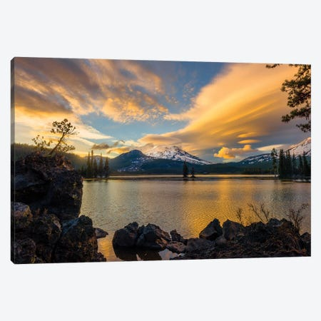 Sunset colors reflect off Diamond Lake from the lenticular clouds  Canvas Print #HDD16} by Sheila Haddad Art Print