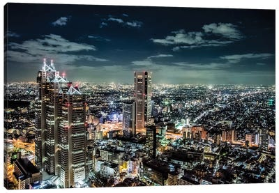 Government buildings of Tokyo at night, Japan Canvas Art Print