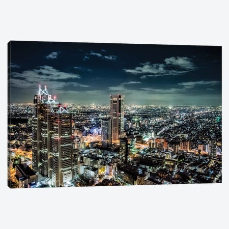 Government buildings of Tokyo at night, Japan Canvas Print #HDD4} by Sheila Haddad Canvas Art Print