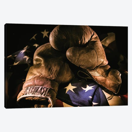 Pair of vintage boxing gloves laying on a flag carefully painted with light Canvas Print #HDD5} by Sheila Haddad Art Print