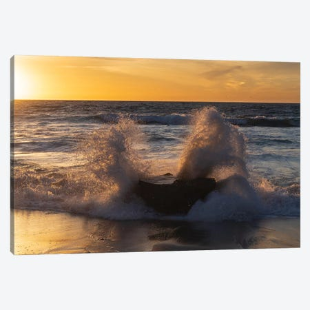 Golden sunset light coming through the white water crashing off a rock Canvas Print #HDD8} by Sheila Haddad Canvas Wall Art