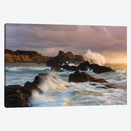Large waves crashing against the sea stacks along the beach of Seal Rock. Canvas Print #HDD9} by Sheila Haddad Canvas Art