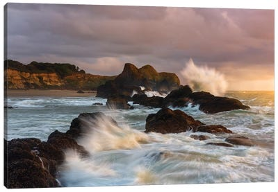 Large waves crashing against the sea stacks along the beach of Seal Rock. Canvas Art Print