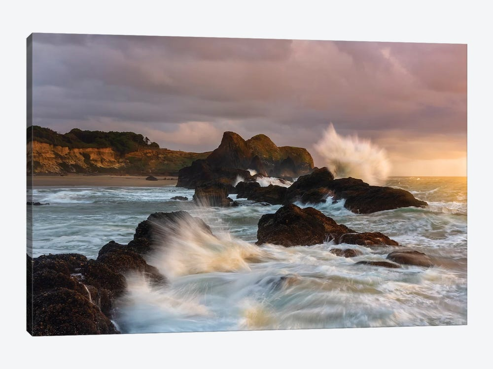 Large waves crashing against the sea stacks along the beach of Seal Rock. by Sheila Haddad 1-piece Canvas Artwork