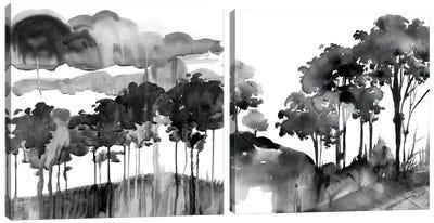 Cerulean Sky Diptych Canvas Art Print