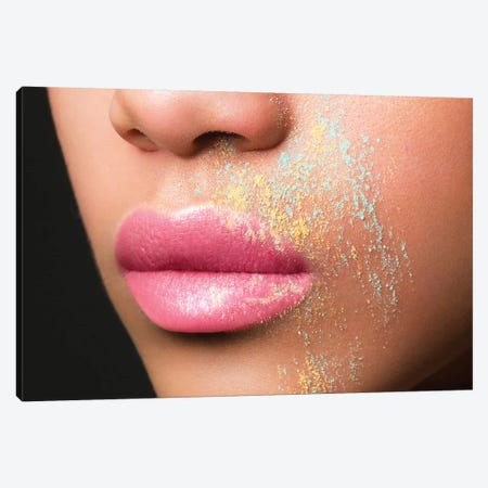Serena In Pink With A Dusting Of Blue & Yellow Canvas Print #HDU9} by Herve Dunoyer Canvas Wall Art