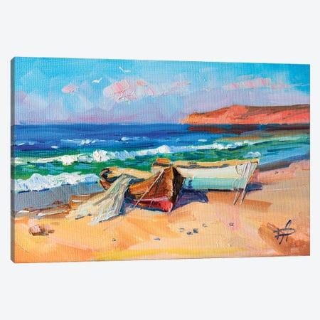 Fishing Boats Canvas Print #HDV29} by CountessArt Canvas Print