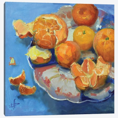 Orange Mandarines Canvas Print #HDV48} by CountessArt Art Print