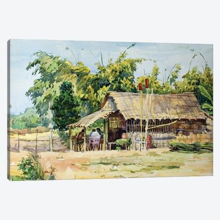 Village Cafe Canvas Print #HDV76} by CountessArt Art Print