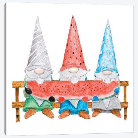 Watermelon Gnomes Canvas Print #HED27} by Hugo Edwins Canvas Art Print