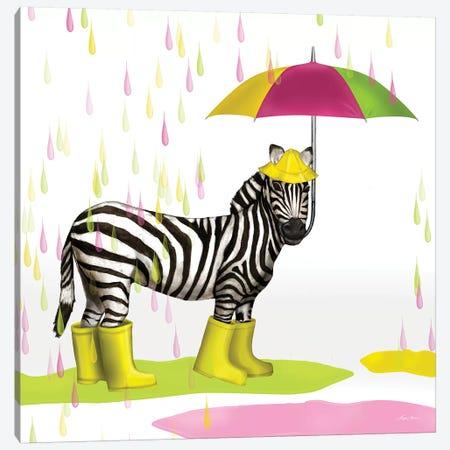 Raindrop Safari Zebra Canvas Print #HED8} by Hugo Edwins Canvas Print