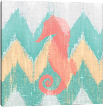 Sea Creature on Chevron II Canvas Art Print