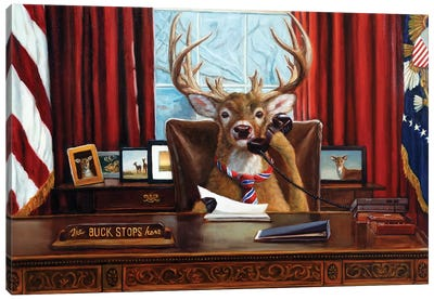 The Buck Stops Here Canvas Art Print