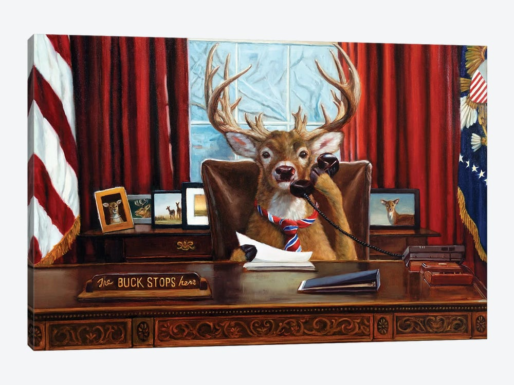 The Buck Stops Here by Lucia Heffernan 1-piece Canvas Print